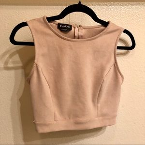 Velvet nude Bebe cropped top